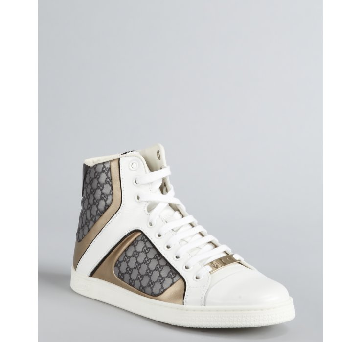 gucci white guccissima leather lace up high top sneakers in gray white lyst. Black Bedroom Furniture Sets. Home Design Ideas