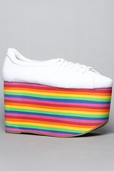 Jeffrey Campbell The Sporty Shoe in White Fabric and Rainbow