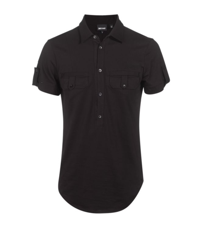 Just cavalli Half Button Up Polo Shirt in Black for Men | Lyst