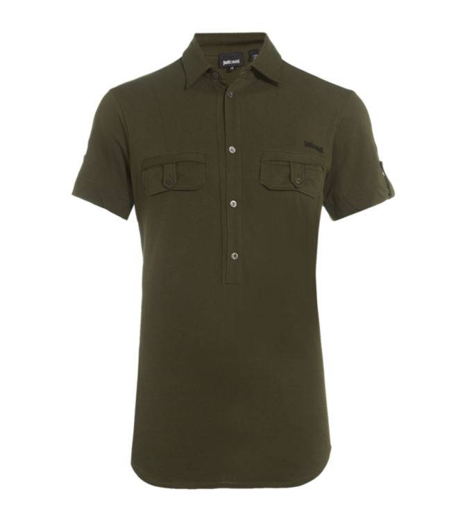 Just Cavalli Half Button Up Polo Shirt In Khaki For Men Lyst