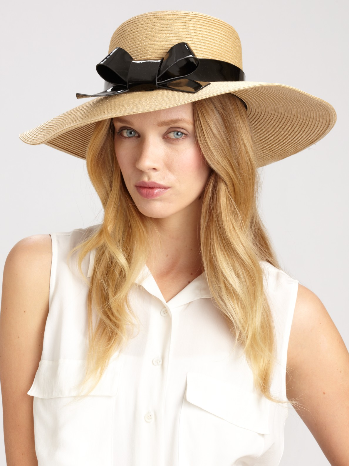 Lyst - Kate Spade Patent Bow Sun Hat in Natural 884a9a7edae