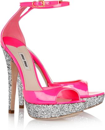 Miu Miu Glitterfinish Patent Leather Sandals - Lyst