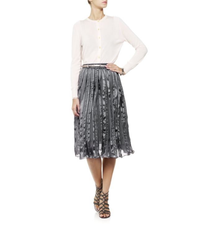 paul smith pleated midi skirt in gray lyst