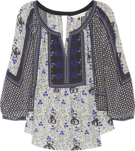 Rebecca Taylor Printed Silk Blouse in Blue (multicolored)