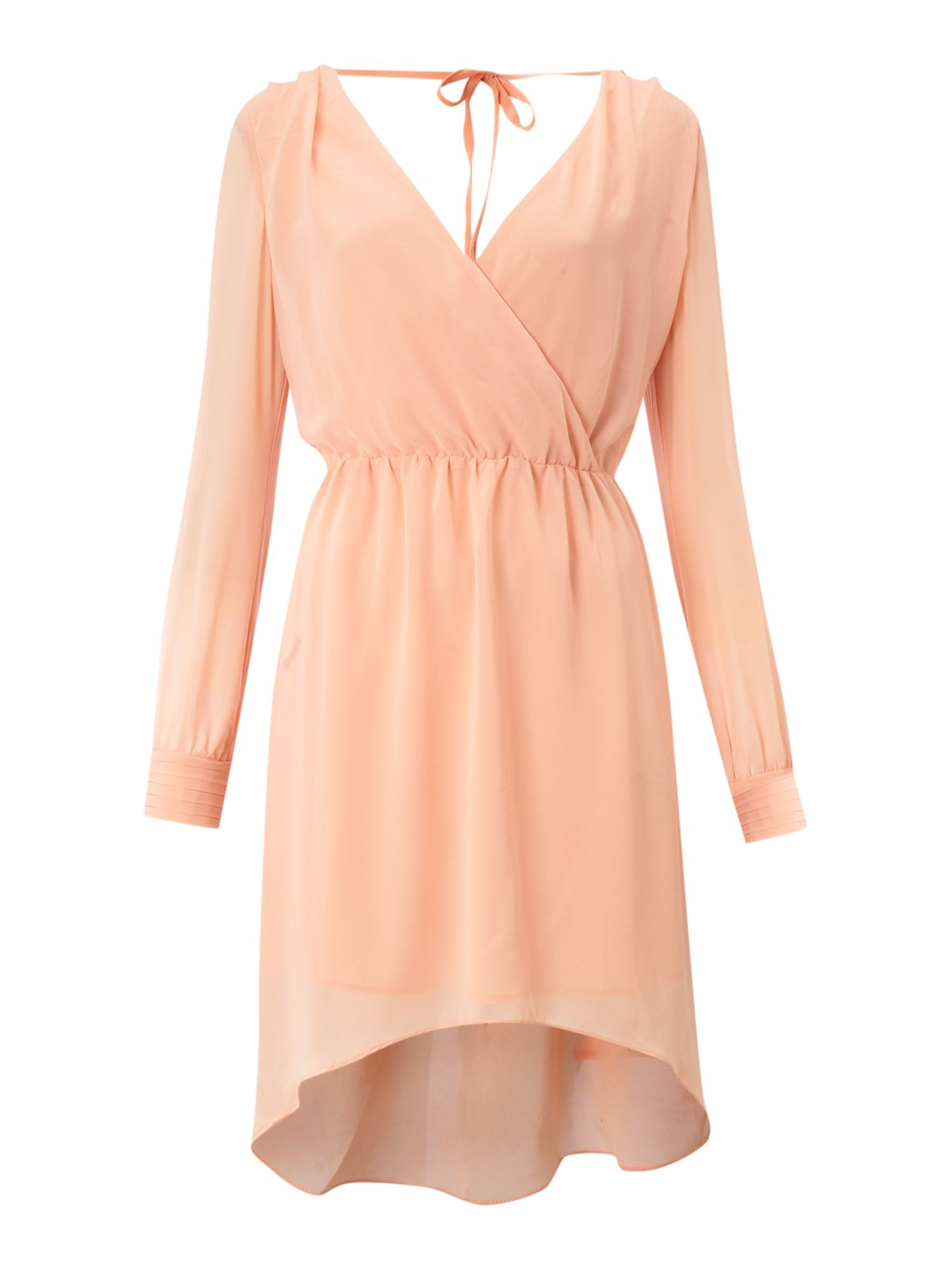 tfnc v belted wrap dress in pink lyst