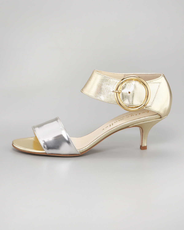 Silver Sandals Kitten Heel