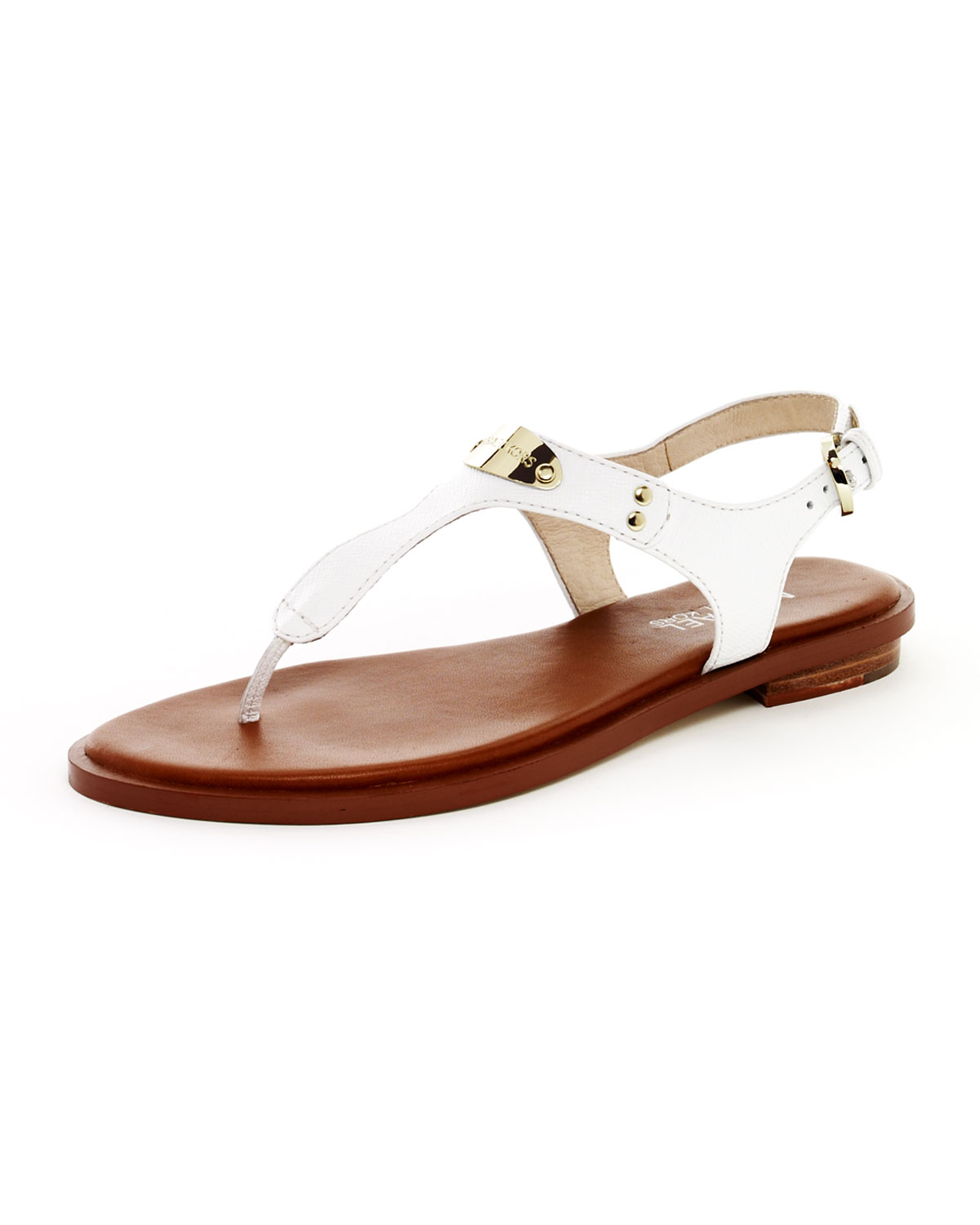 Michael michael kors Logoplate Leather Thong Sandal Optic ...