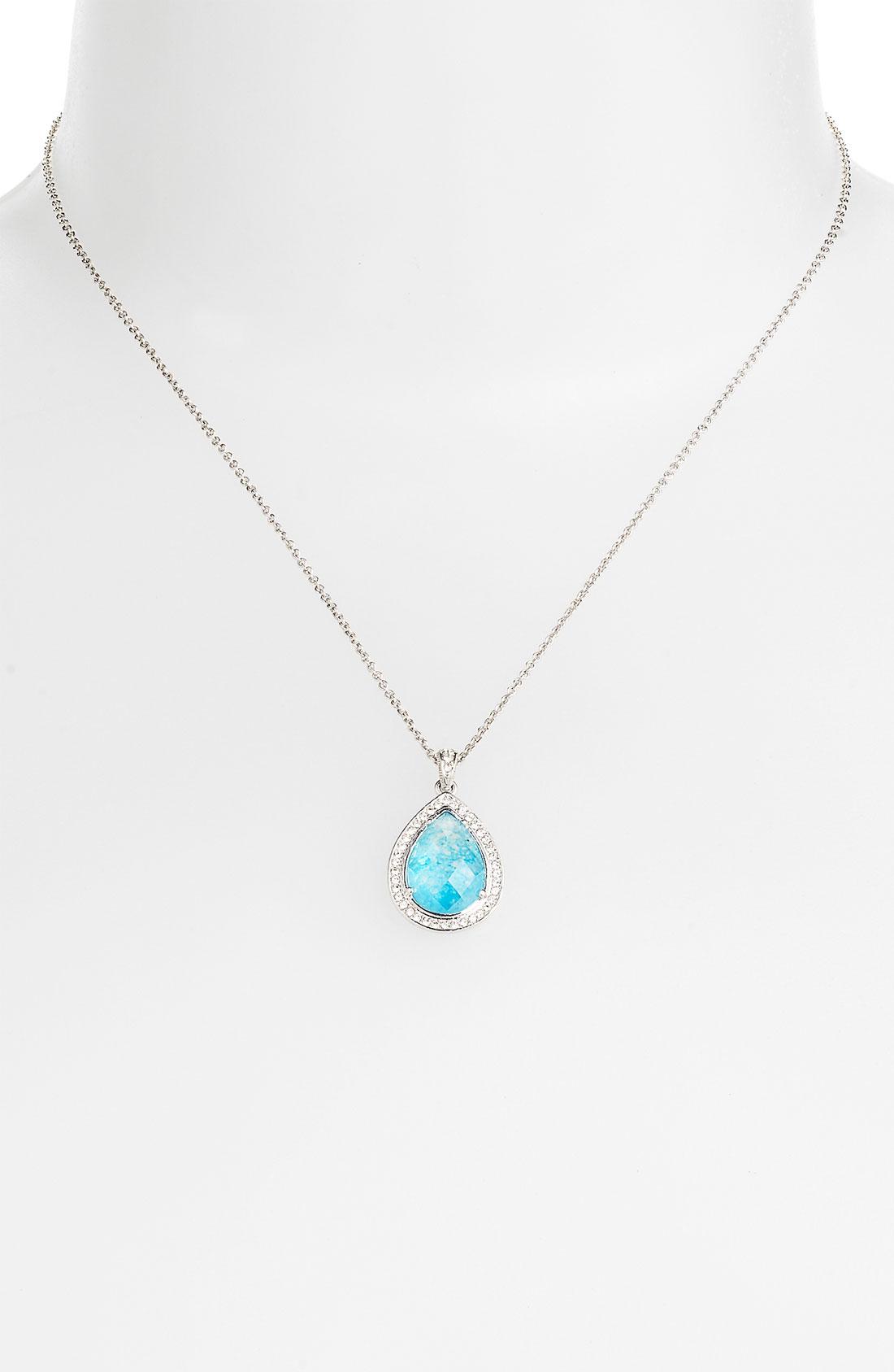 nadri boxed teardrop pendant necklace in blue turquoise
