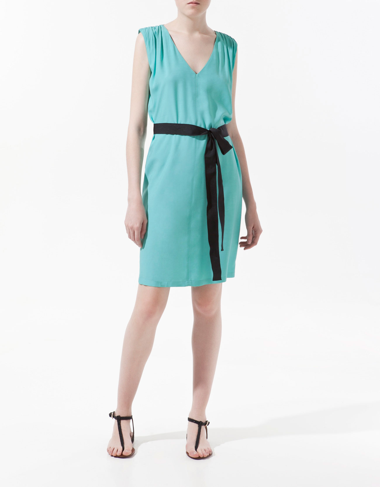 zara dress with grosgrain ribbon belt in blue aquamarine