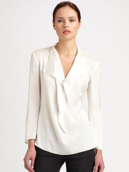White Silk Ruffle Blouse 112