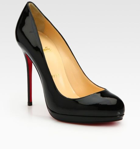 Christian Louboutin Patent Leather Platform Pumps in Black - Lyst