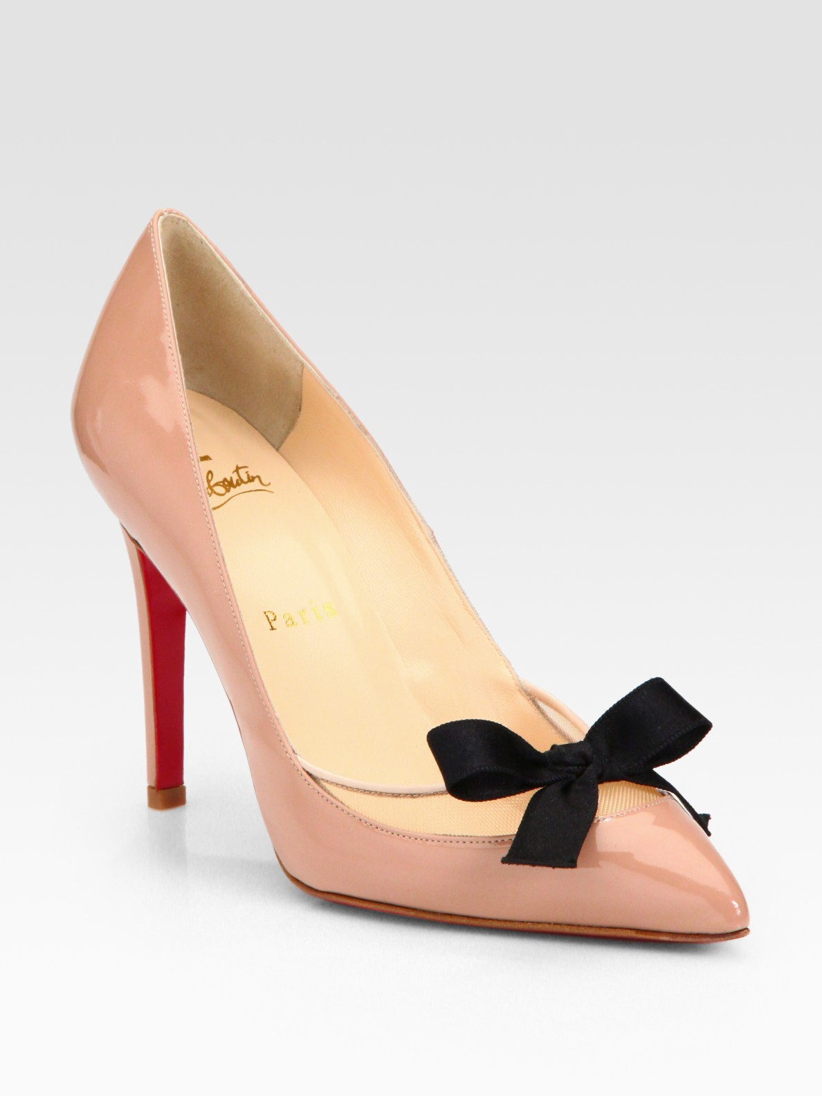 dad666af167 Christian Louboutin Pink Patent Leather Bow Pumps