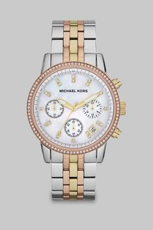 Michael Kors Crystal Accented Tritone Stainless Steel Chronograph Watch - Lyst