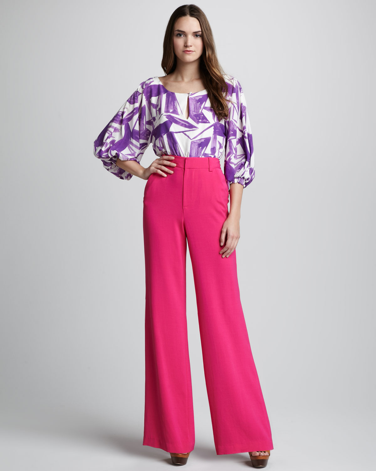 Alice   olivia High Waist Wide Leg Pants in Pink | Lyst