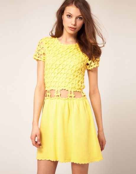 Asos Collection Asos Crochet Village Fit and Flare Dress in Yellow - Lyst