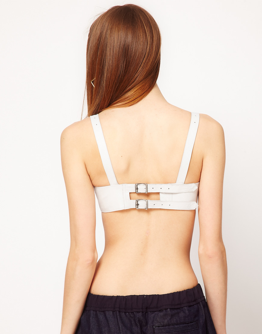 719dc801a31 Lyst - ASOS Revive Leather Bra in White