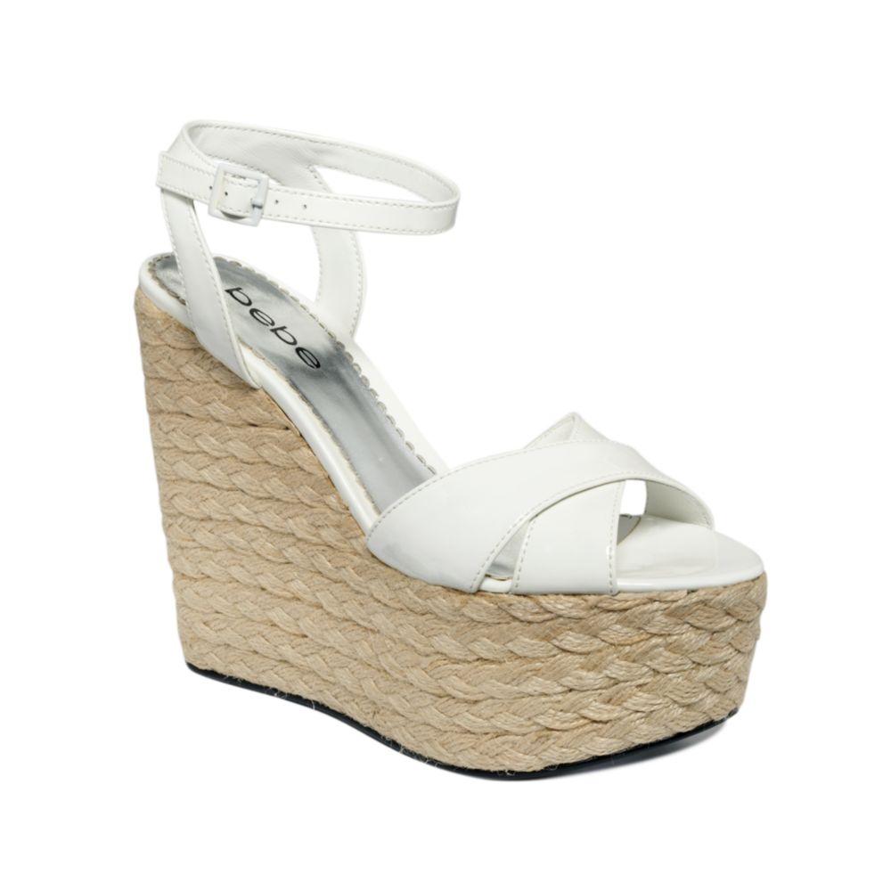 bebe karissa espadrille platform wedge sandals in white