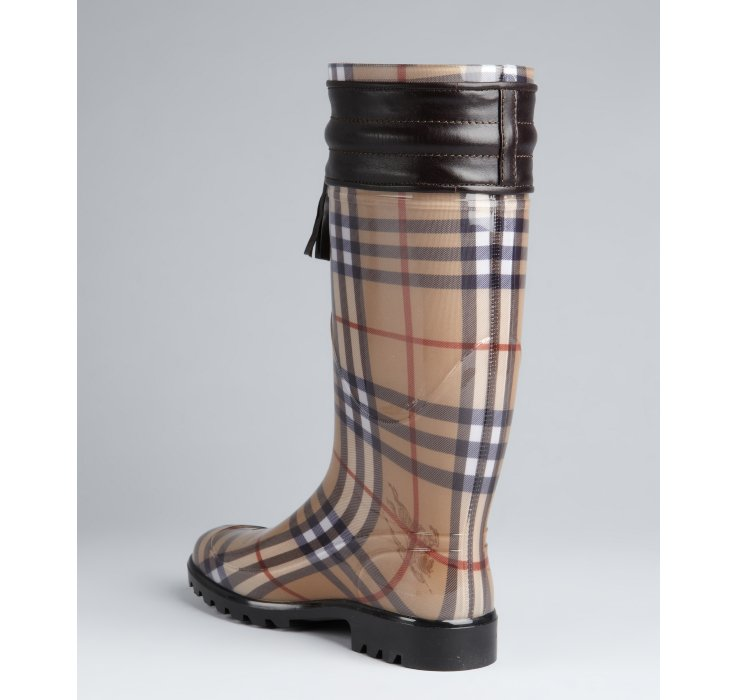 Burberry Chocolate Leather Accent PVC Covered Signature Plaid Rain ...