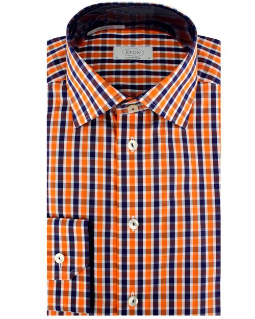 Eton Of Sweden Navy And Orange Plaid Dress Shirt In Orange