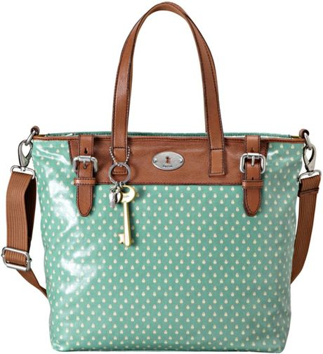 Fossil Vintage Keyper Coated Canvas Tote in Green (sea green)