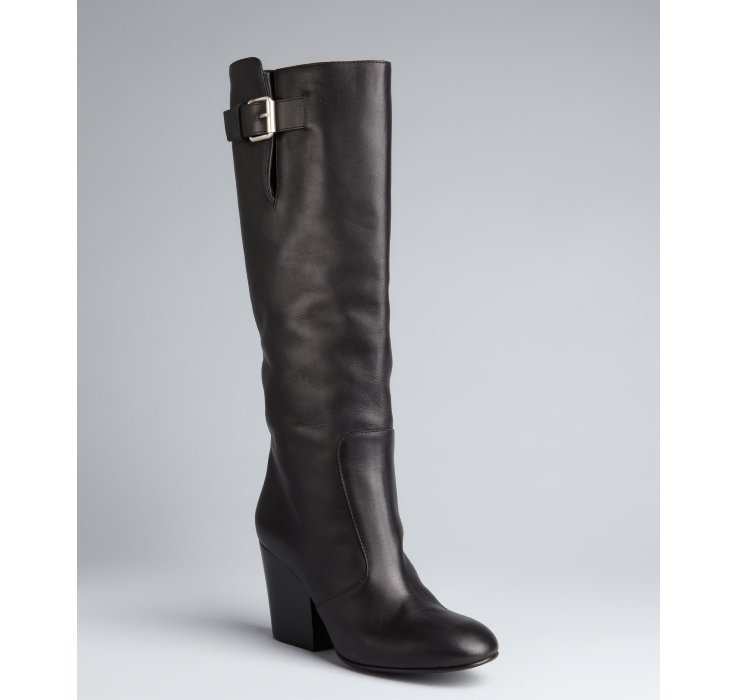 giuseppe zanotti black leather 80 knee high boots