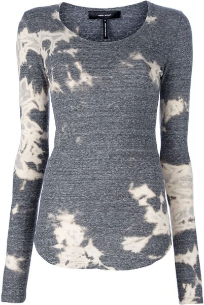 Isabel Marant Bleached Top in Gray (grey) - Lyst