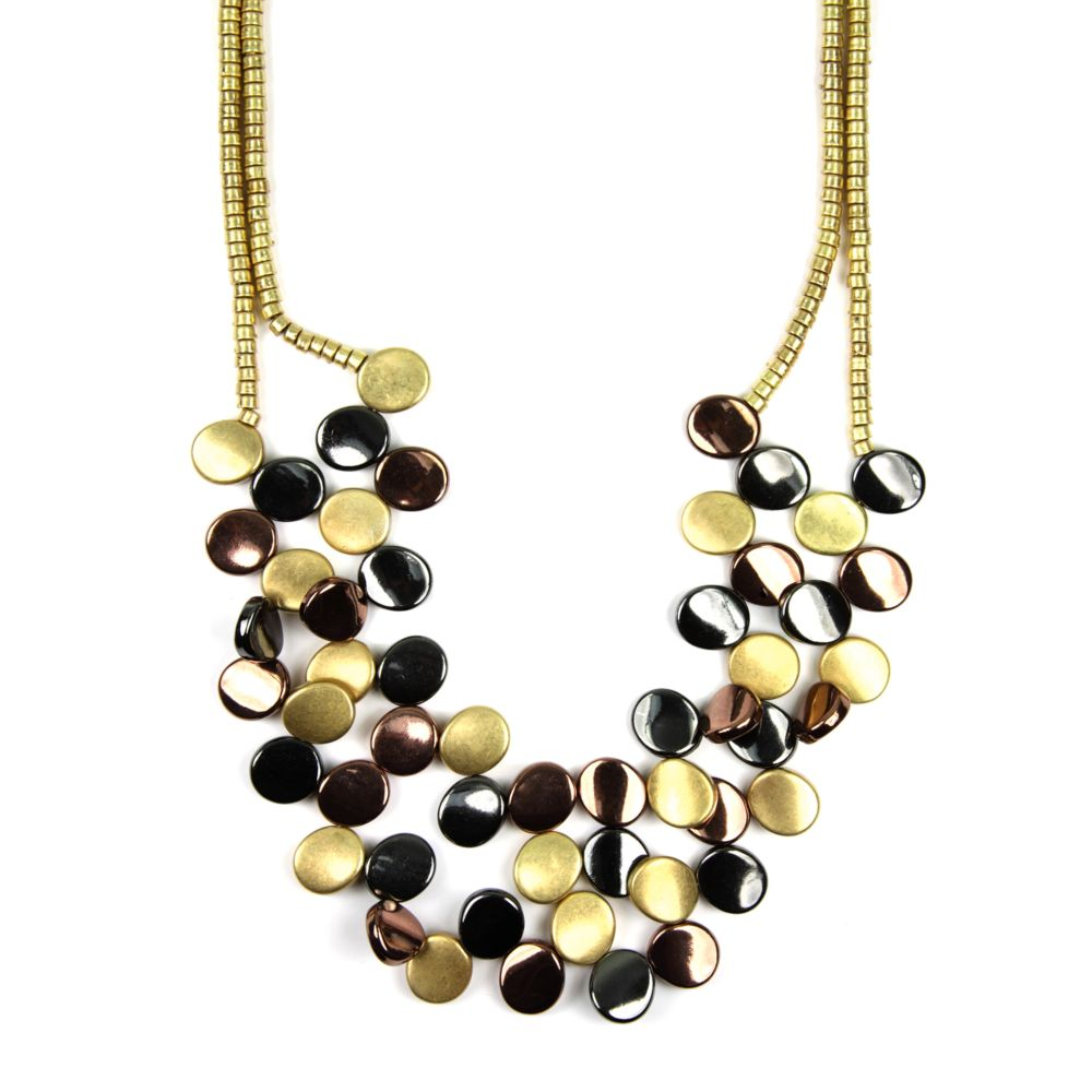 jones new york tri tone two row frontal necklace in gold. Black Bedroom Furniture Sets. Home Design Ideas