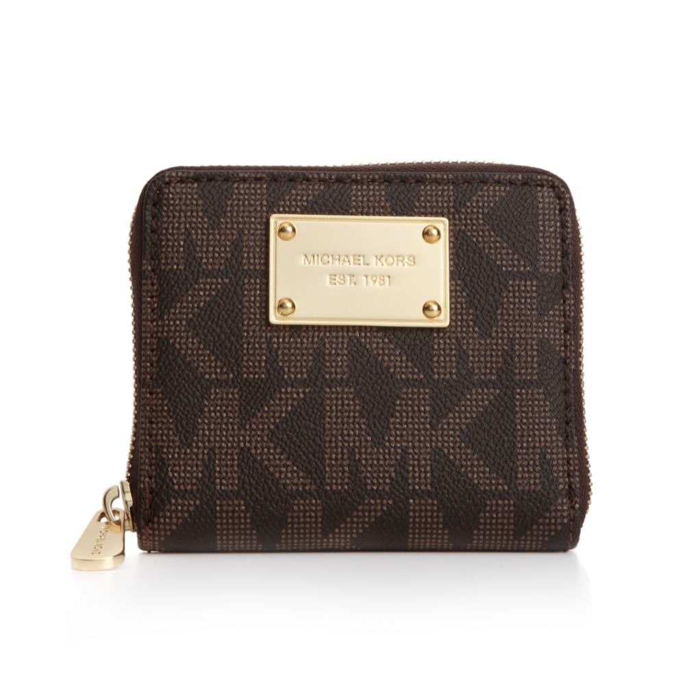 5e5ea7997db9a1 ... wholesale lyst michael kors mk logo small zip around wallet in brown  150ab 136b7