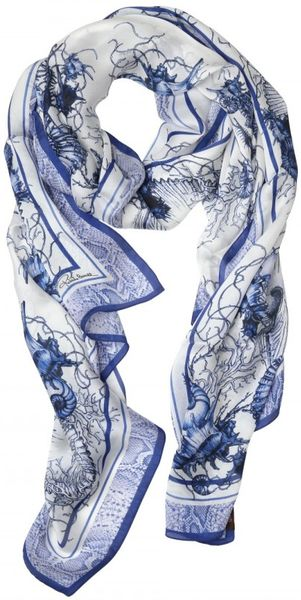 Roberto Cavalli Submarine Print Silk Chiffon in Blue
