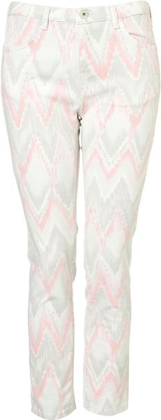 Topshop Washed Aztec Print Trousers in Blue