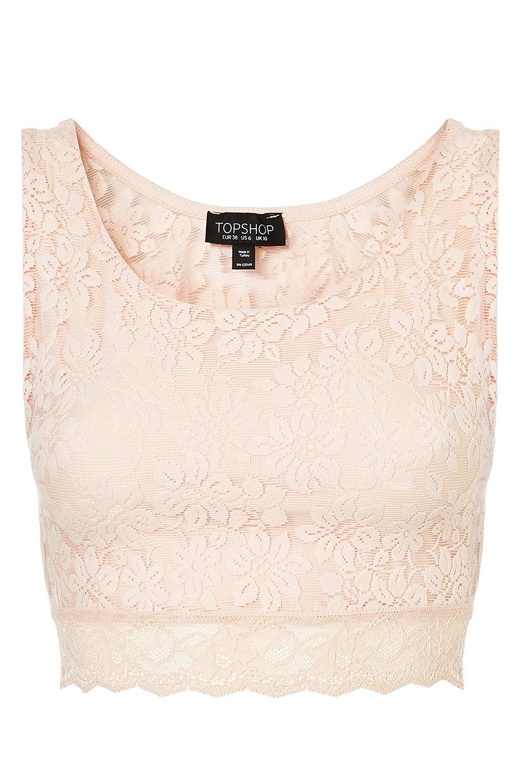 2c91df084cb79c Lyst - TOPSHOP Lace Crop Top in Pink