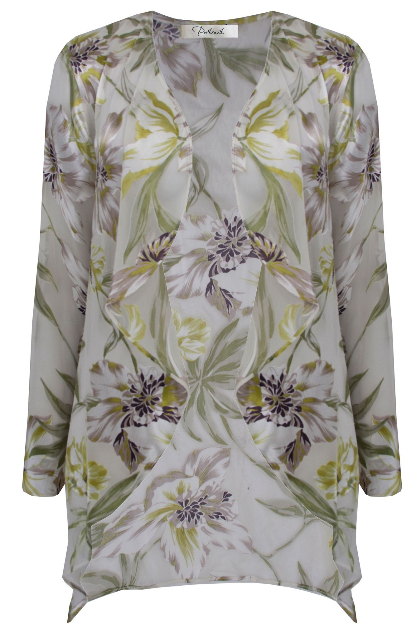 Ann Harvey Green Vintage Floral Waterfall Jacket In Gray
