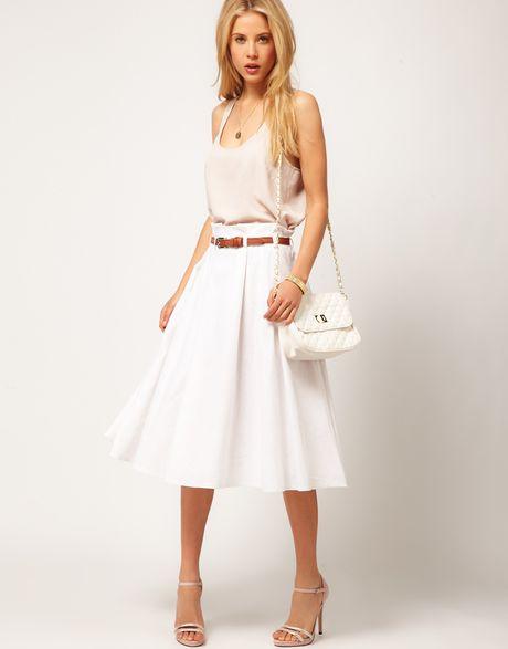 asos collection asos linen midi skirt with belt in white