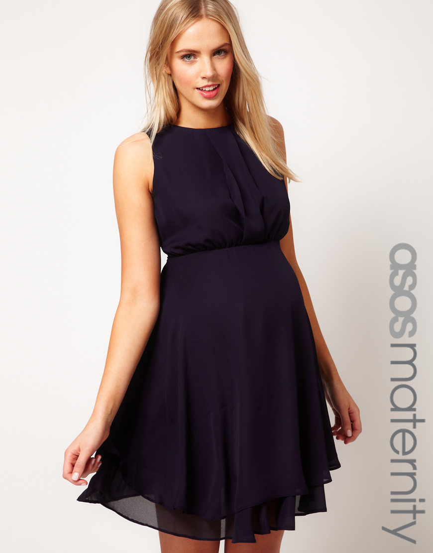 Asos asos maternity dress with double layer in blue lyst gallery ombrellifo Image collections