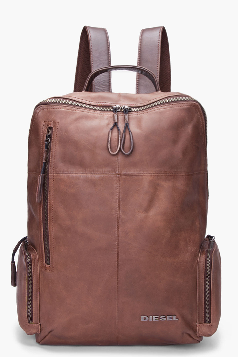 Brown Leather Forward Backpack
