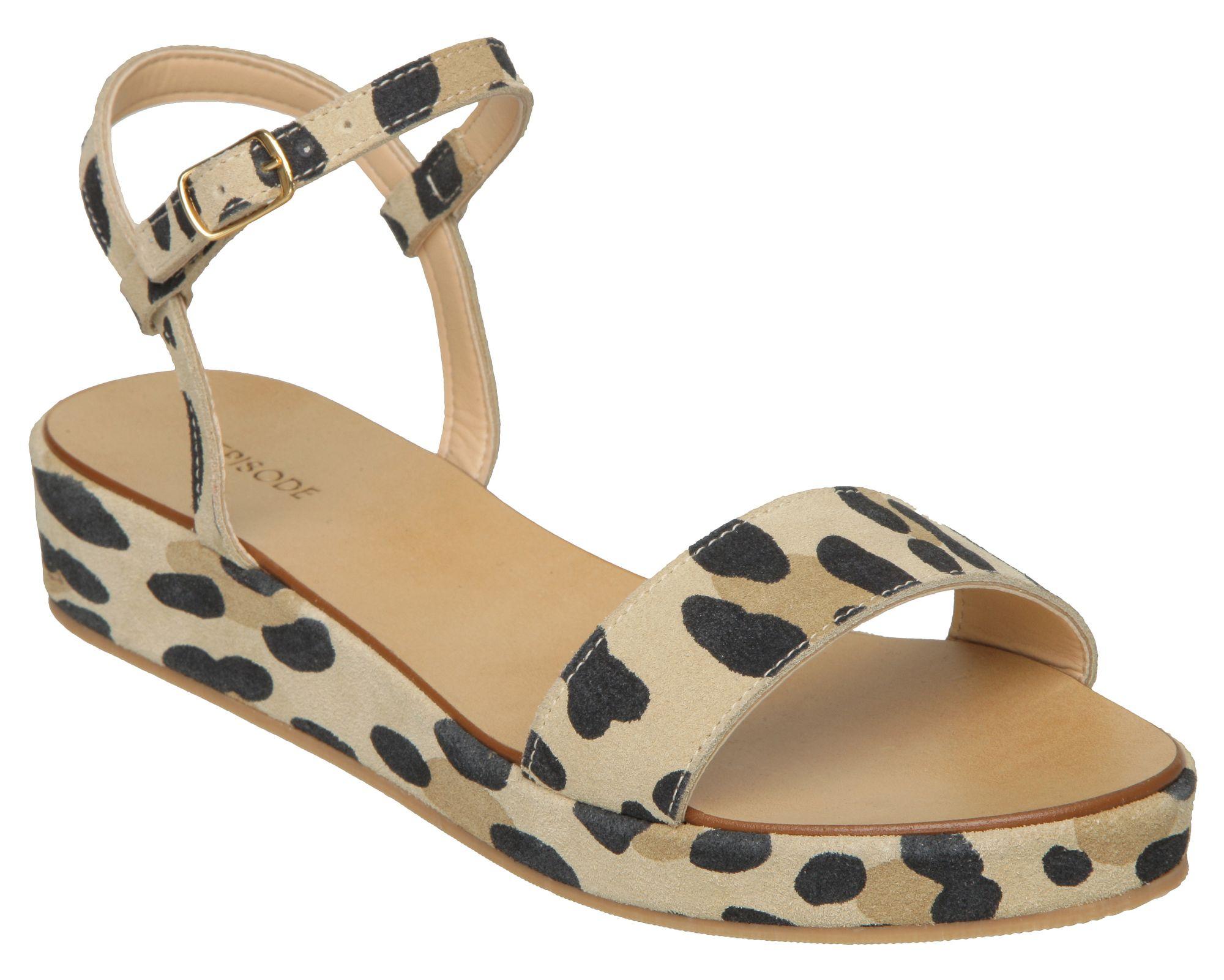 episode gabela e low wedge leopard sandals in animal