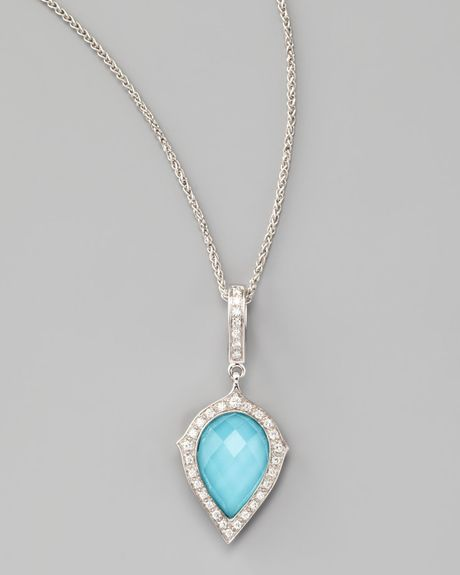 Stephen Webster Diamond Turquoise Pear Pendant Necklace In