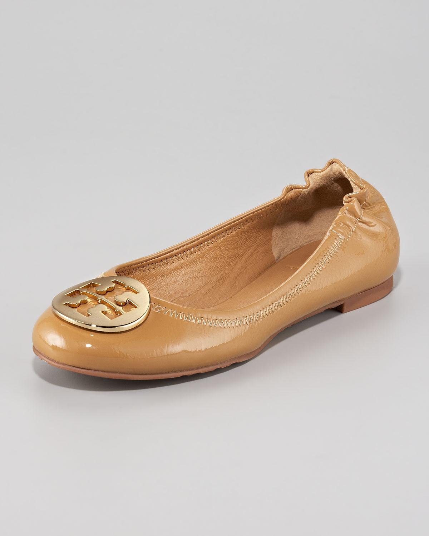 tory burch reva tumbled patent ballerina flat tan in gold sand gold lyst. Black Bedroom Furniture Sets. Home Design Ideas