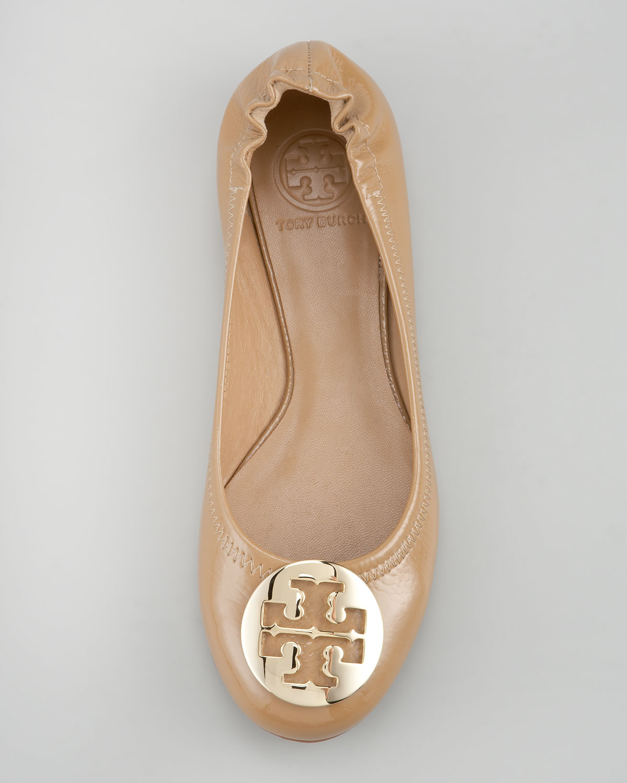 b3892844935ab Tory Burch Metallic Reva Tumbled Patent Ballerina Flat Tan