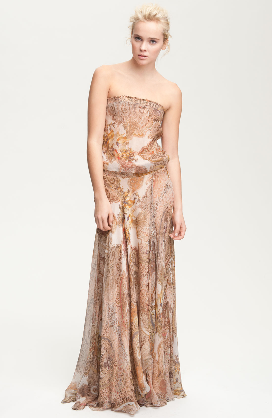 Haute Hippie Strapless Paisley Print Chiffon Maxi Dress In