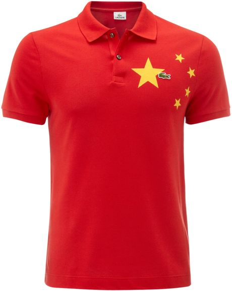 lacoste slim fit china flag polo shirt in red for men lyst. Black Bedroom Furniture Sets. Home Design Ideas