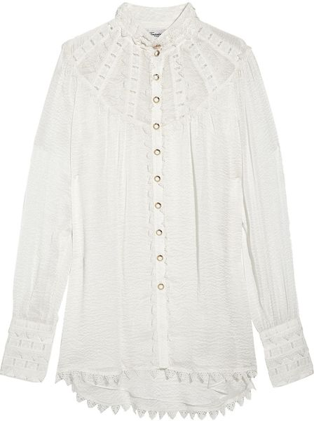 Temperley London Valencia Silkcloqué and Lace Blouse in White (ivory)