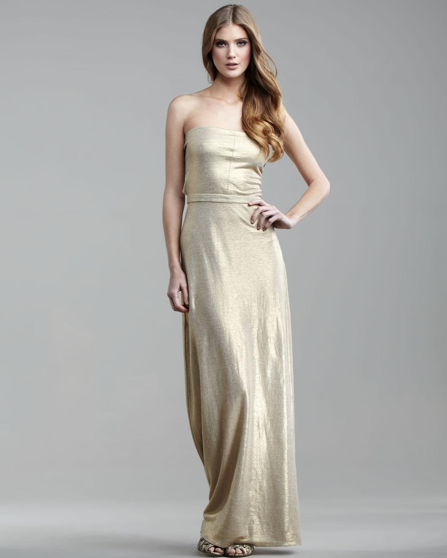 Tibi Metallic Linen Strapless Maxi Dress in Metallic | Lyst