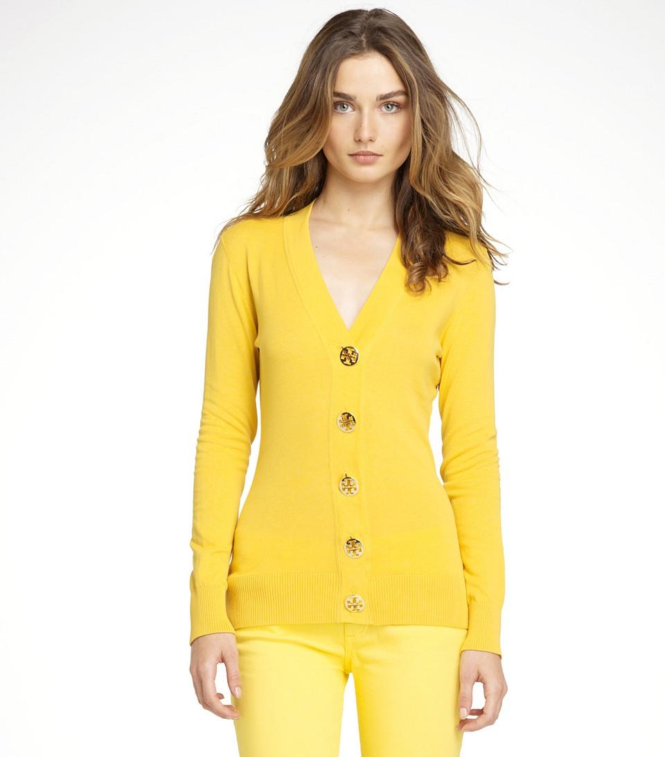 Tory burch Simone Cardigan in Yellow | Lyst