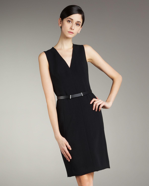 Akris Sleeveless V-neck Dress In Black
