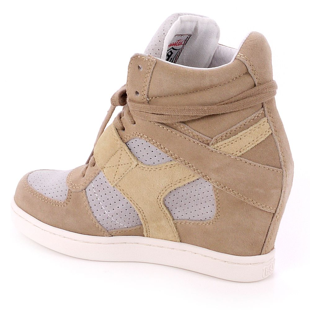 Ash Ash Cool Black Wedge Hi Top Trainer in Sand (Natural)