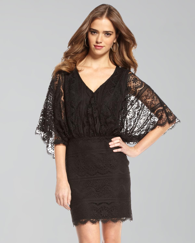 Beyond vintage Lace Dolman-sleeve Dress in Black | Lyst