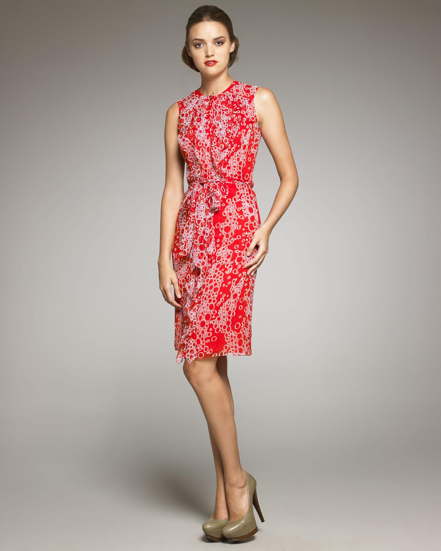 3febb538377cd Carolina Herrera Bubble-Print Silk Dress in Red - Lyst
