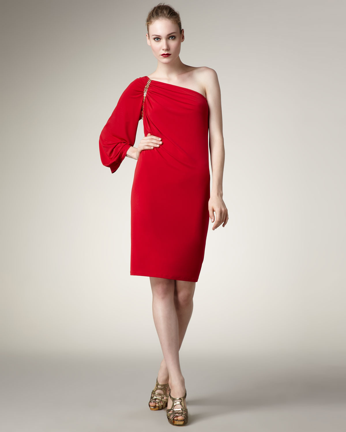 David meister One-sleeve Grecian Shift Dress in Red  Lyst