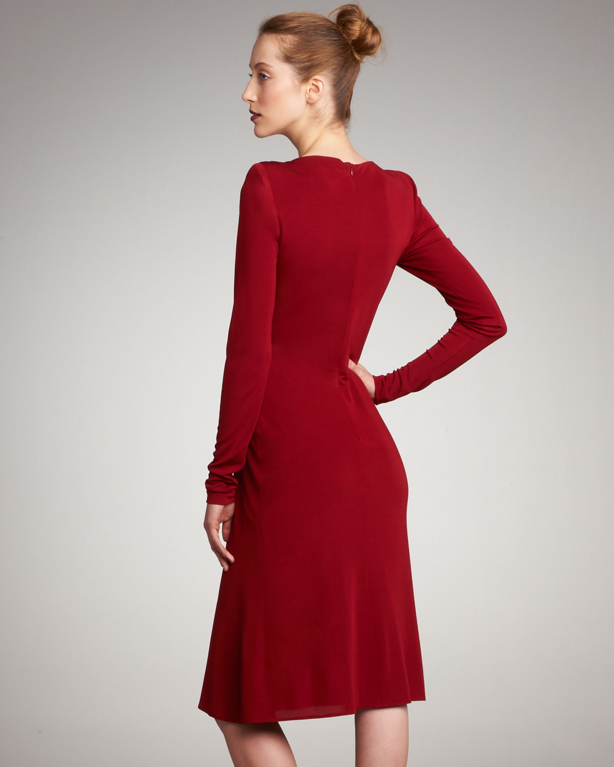 Red jersey cocktail dress